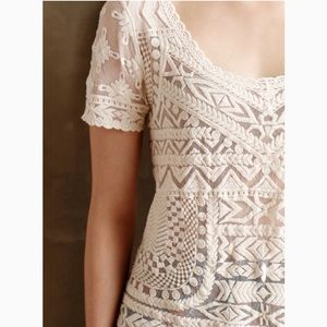 Anthro Meadow Rue Cream Embroidered Mesh Top